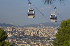 Barcelona, Spain - October 15, 2017. Montjuic Cable Car. It is a cable car that gives access to the mountain of Barcelona from Mon stock image