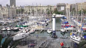 BARCELONA, SPAIN – OCTOBER 3: Overview of the Port of Barcelona. October 3, 2015 in Barcelona, Spain Royalty Free Stock Photo