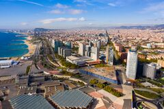 Barcelona, Spain - October 4, 2019: Panoramic view from the drone of residential area Diagonal Mar. Barcelona. Spain