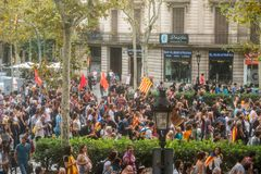 BARCELONA, SPAIN - OCTOBER 3, 2017: People demonstration for Catalonia independence in Barcelona city centre. Royalty Free Stock Images