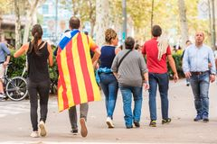 BARCELONA, SPAIN - OCTOBER 3, 2017: People demonstration for Catalonia independence in Barcelona city centre. Copy space for text. Royalty Free Stock Photos