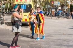 BARCELONA, SPAIN - OCTOBER 3, 2017: People demonstration for Catalonia independence in Barcelona city centre. Copy space for text. Royalty Free Stock Images