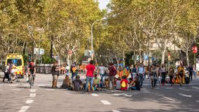 BARCELONA, SPAIN - OCTOBER 3, 2017: People demonstration for Catalonia independence in Barcelona city centre. Copy space for text. Stock Photo
