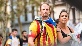 BARCELONA, SPAIN - OCTOBER 3, 2017: People demonstration for Catalonia independence in Barcelona city centre. Close-up. Royalty Free Stock Photo