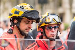 BARCELONA, SPAIN - OCTOBER 3, 2017: Portrait of men in helmets at a demonstration in Barcelona. Close-up. Stock Photo