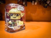 Barcelona, Spain. October 2019: 6: Star Wars Yoda figure toy on shelve in shopping mall.