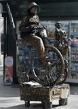Transformation of man into monument or popular movie character. Barcelona, Spain - October 9, 2017: Trendy entertainment, transformation of man into monument or Stock Photo