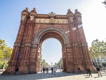 Arco del triunfo in Barcelona downtown. Barcelona, Spain - October 29, 2016. View of the Arc del Trionf monument in Barcelona Stock Photos