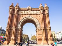 Arco del triunfo in Barcelona downtown. Barcelona, Spain - October 29, 2016. View of the Arc del Trionf monument in Barcelona Stock Photography