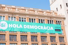 BARCELONA, SPAIN - OCTOBER 3, 2017: View of the building with a poster. The referendum on independence, Barcelona, Catalonia, Spai Royalty Free Stock Image