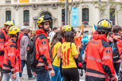 BARCELONA, SPAIN - OCTOBER 3, 2017: Workers in helmets at a demonstration in Barcelona. Royalty Free Stock Image