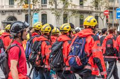 BARCELONA, SPAIN - OCTOBER 3, 2017: Workers in helmets at a demonstration in Barcelona. Royalty Free Stock Photos