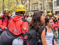BARCELONA, SPAIN - OCTOBER 3, 2017: Workers in helmets at a demonstration in Barcelona. Close-up. Royalty Free Stock Photo