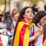 BARCELONA, SPAIN - OCTOBER 3, 2017: Young girl at the demonstration in Barcelona. Close-up. Stock Image