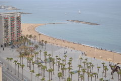 Barcelona in Spain. Overlooking the beach Stock Images