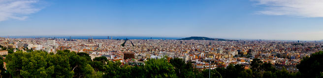 Barcelona Spain Panorama. Panorama of the city of capital of Catalonia, Barcelona, Spain Royalty Free Stock Image