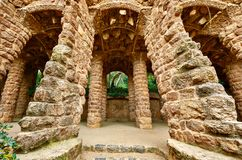 Barcelona, Spain. Park Guell. Antonio Gaudi Architecture. Barcelona, Spain. Park Guell. Antonio Gaudi Art Architecture. Entrance structures with stone pillars stock photos