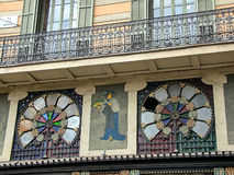 Barcelona, Spain, Part of the facade Casa Bruno Quadros on Pla d. Barcelona, Spain - October 1, 2015 - Part of the facade with oriental fans home(Casa) Bruno royalty free stock images