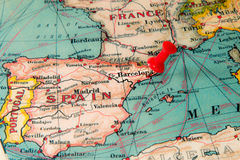 Barcelona, Spain pinned on vintage map of Europe Stock Photos