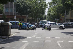 Barcelona, Spain -police motorcycles blocking traffic. Royalty Free Stock Photo