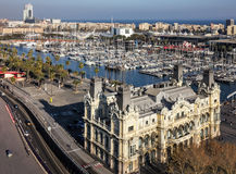 Barcelona, Spain. Port Vell embankment panoramic view stock image