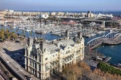 Barcelona, Spain. Port Vell embankment panoramic view. Building Stock Photos