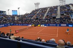 R.Nadal- D,Ferrer,  players in The Barcelona Open, an annual tennis tournament for male professional player. Barcelona, Spain; 04 25 2019: R.Nadal - D. Ferrer royalty free stock image