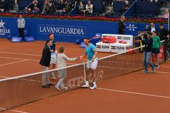 R.Nadal- D,Ferrer,  players in The Barcelona Open, an annual tennis tournament for male professional player. Barcelona, Spain; 04 25 2019: R.Nadal - D. Ferrer royalty free stock photos