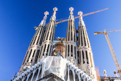 Barcelona in Spain. Sagrada Familia Church, Gaudi Royalty Free Stock Images