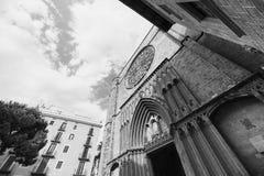 Barcelona Spain: Santa Maria del Pi, gothic church. Barcelona Catalunya, Spain: facade of Santa Maria del Pi, gothic church. Black and white Stock Image