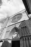 Barcelona Spain: Santa Maria del Pi, gothic church. Barcelona Catalunya, Spain: facade of Santa Maria del Pi, gothic church. Black and white Royalty Free Stock Photos