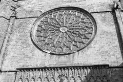Barcelona Spain: Santa Maria del Pi, gothic church. Barcelona Catalunya, Spain: facade of Santa Maria del Pi, gothic church. Black and white Royalty Free Stock Image