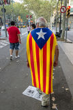 BARCELONA, SPAIN - SEPT. 11: Mature man manifesting ingependence Royalty Free Stock Photo