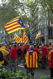 BARCELONA, SPAIN - SEPT. 11: People manifesting ingependence on Royalty Free Stock Photography