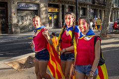 BARCELONA, SPAIN - SEPT. 11: Teenagers manifesting ingependence Royalty Free Stock Photo
