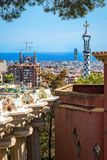 View to Barcelona from Park Guell. Barcelona, Spain - September 24, 2015: Aerial view to Barcelona from Park Guell royalty free stock photo
