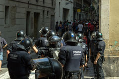 BARCELONA, SPAIN - SEPTEMBER 11, 2014: Antifa manifestation Royalty Free Stock Photo
