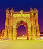 Arc of Triomphe in Barcelona city, Spain. Night scene. BARCELONA, SPAIN - SEPTEMBER 27 2011: Arc of Triomphe in Barcelona city, Spain. Night scene Royalty Free Stock Photos
