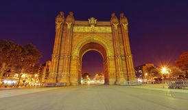 Arc of Triomphe in Barcelona city, Spain. Night scene. BARCELONA, SPAIN - SEPTEMBER 27 2011: Arc of Triomphe in Barcelona city, Spain. Night scene Royalty Free Stock Photo