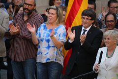Catalan President Puigdemont receiving population that will help with referendum. BARCELONA/SPAIN - 28 SEPTEMBER 2017: Catalan president Carles Puigdemont Royalty Free Stock Photos