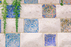 Barcelona, Spain - September 10, 2016: Floral mosaic in Park Guell Royalty Free Stock Photos