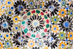 Barcelona, Spain - September 10, 2016: Floral mosaic in Park Guell Stock Image