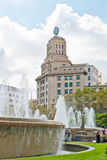 Fountain in placa de Catalunya - famous square in Barcelona Royalty Free Stock Image