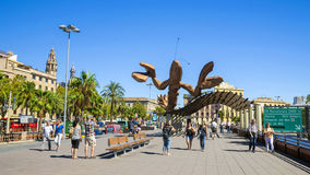 BARCELONA, SPAIN - SEPTEMBER 17: A giant lobster sculpture at th. E Port Vell in Barcelona, September 17, 2015 Royalty Free Stock Image