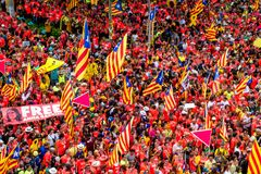 Catalan independence movement on national day Royalty Free Stock Images