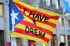 Catalan symbols at Diada independence manifestation. BARCELONA/SPAIN - 11 SEPTEMBER 2017: `I have a dream` message on a catalan flag at the Diada, the national Royalty Free Stock Images