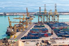 BARCELONA, SPAIN - September, 2017: Industrial port of Barcelona with containers, Spain Stock Image