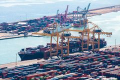 BARCELONA, SPAIN - September, 2017: Industrial port of Barcelona with containers Royalty Free Stock Image