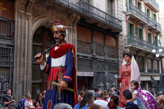 Barcelona, Spain - 24 September 2016 : La Merce annual festival Giants Parade. Each year during the feast oversized figures guided by humans parade spinning royalty free stock image