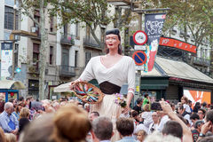 Barcelona, Spain - 24 September 2016 : La Merce annual festival Giants Parade. Each year during the feast oversized figures guided by humans parade spinning stock photos